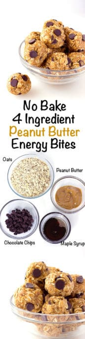 3 image collage with text showing No Bake 4 Ingredient Energy Bites