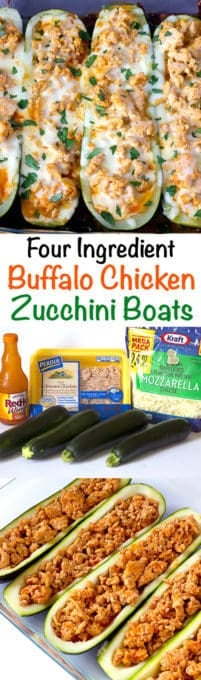 3 image collage with text showing Buffalo Chicken Zucchini Boats