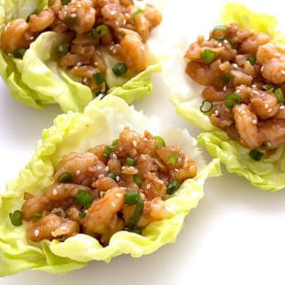 3 Asian shrimp lettuce wraps with hoisin sauce and water chestnuts