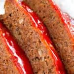 Best Meatloaf with ketchup glaze - 3 slices