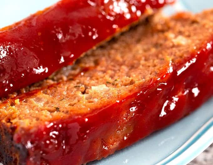 Best Meatloaf recipe - 2 slices on a blue plate