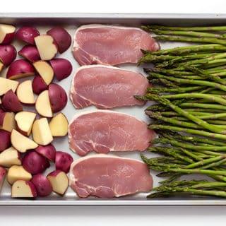 Sheet Pan Baked Parmesan Pork Chops Potatoes & Asparagus