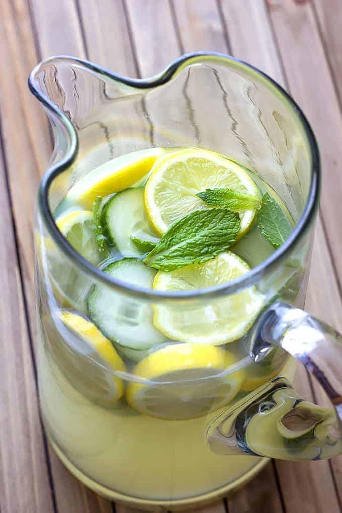 glass pitcher full of Cucumber Mint Lemonade Recipe