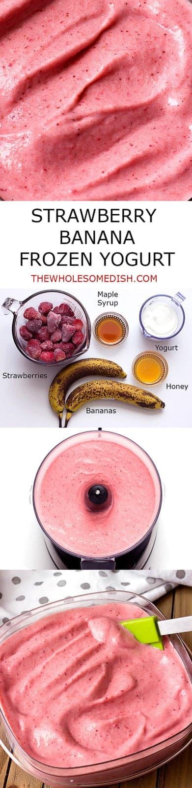 Strawberry Banana Frozen Yogurt - homemade with simple ingredients:  strawberries, bananas, yogurt, maple syrup, and honey.