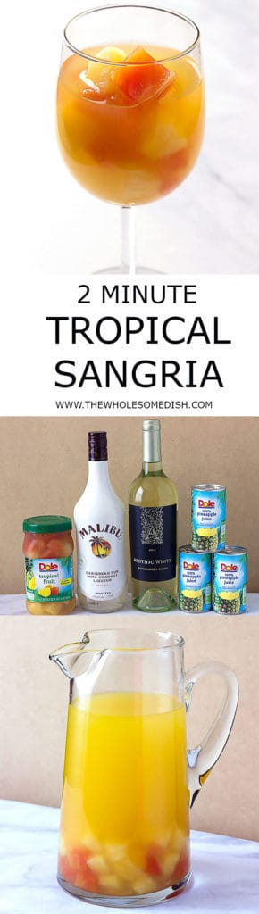 3 image collage with text showing Tropical Sangria