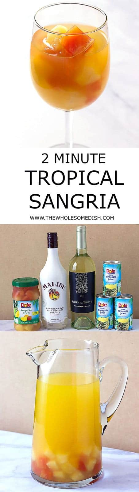 2 Minute Tropical Sangria - A simple tropical sangria recipe that can be made in minutes, made with Malibu coconut rum, pineapple juice, white wine, and mixed tropical fruit.