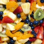 close up of honey vanilla fruit salad