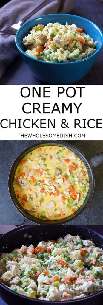 3 image collage with text showing One Pot Creamy Chicken and Rice