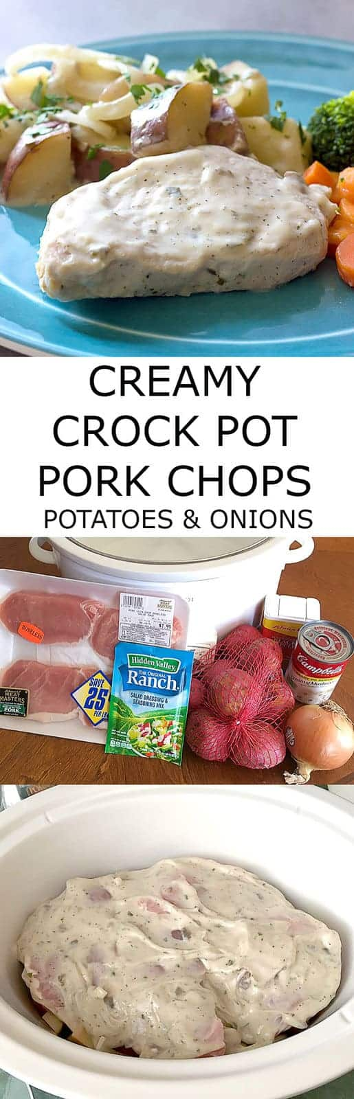 Creamy Crock Pot Pork Chops Potatoes & Onions is a comforting delicious dinner that only takes a few ingredients and a few minutes to prepare.