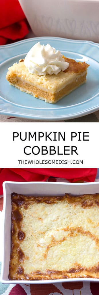 2 image collage with text showing Pumpkin Pie Cobbler