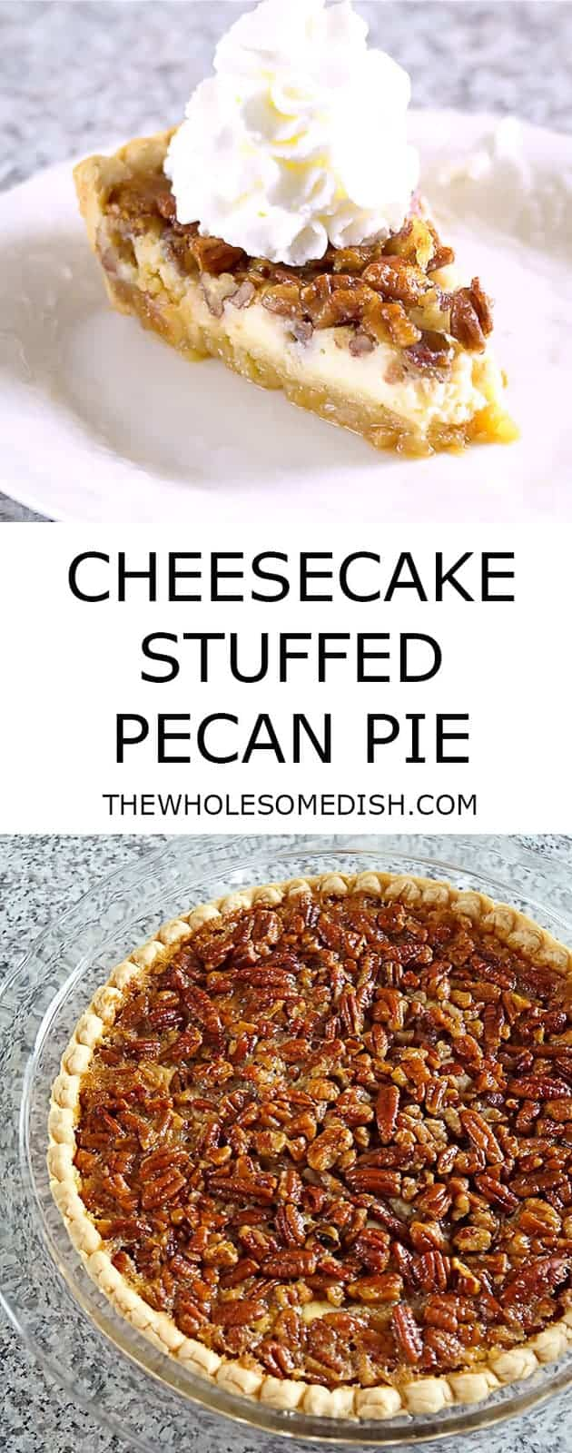 Cheesecake Stuffed Pecan Pie has a crunchy sweet pecan pie top layer and a creamy cheesecake bottom layer.  It's a perfect dessert for the holidays! #cheesecake #pecan #pie #pecanpie #recipe #holiday #holidayrecipes #dessert #dessertrecipes #Thanksgiving #Christmas #thanksgivingdesserts #christmasdesserts #creamcheese