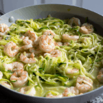 Lemon Garlic Shrimp and Zucchini Noodles in a skillet