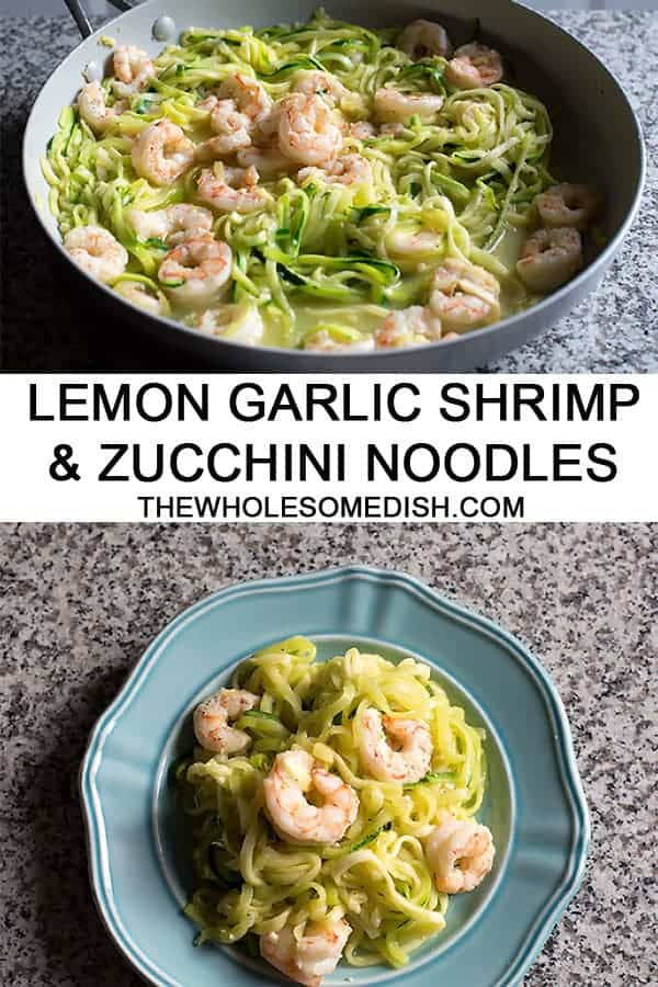 Garlic Shrimp and Zucchini Noodles (Zoodles) is an easy, quick cooking, healthy recipe perfect for a light dinner or even lunch. #shrimp #zucchininoodles #zoodles #zucchini #lowcarb #recipe #healthy #garlic #easyrecipes #quickrecipes