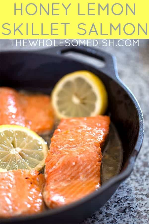 Honey Lemon Skillet Salmon with text overlay
