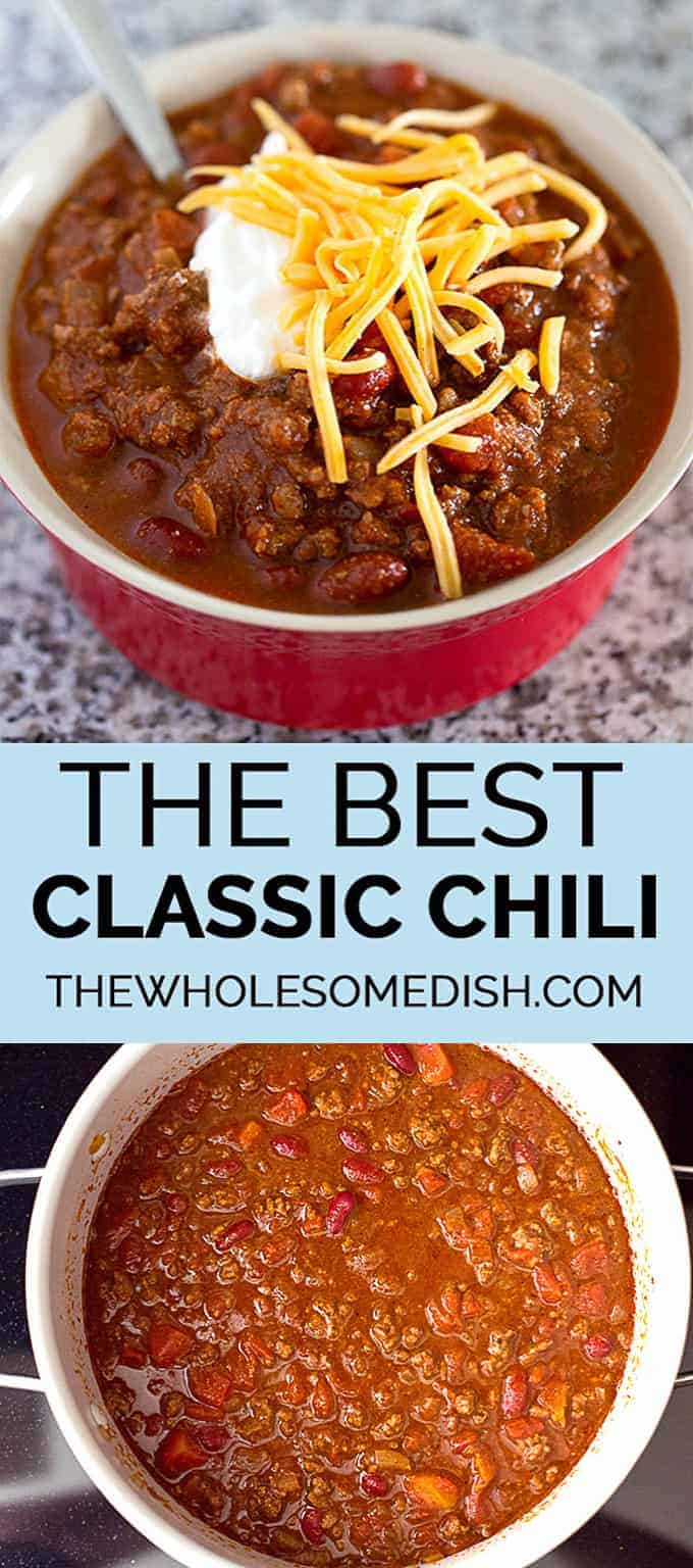 The Best Classic Chili - This traditional chili recipe is just like mom used to make with ground beef, beans, and a simple homemade blend of chili seasonings. #chili #bestrecipes #classicrecipes #easyrecipes #dinner #beef #groundbeef #beans #homemade #weeknightdinner #familyfriendly