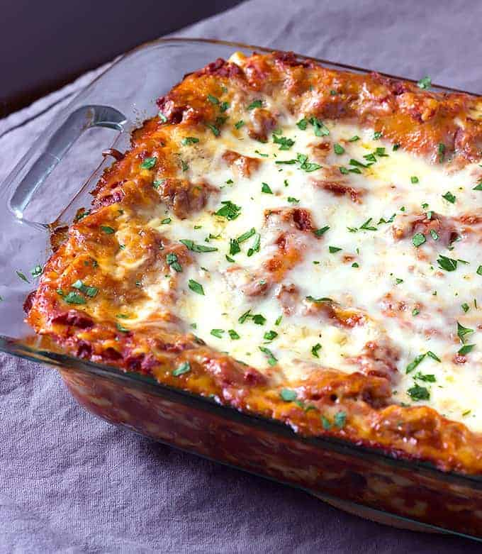 Casserole dish of the best lasagna recipe