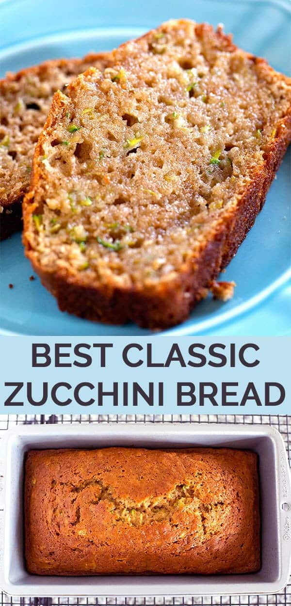 The Best Classic Zucchini Bread - This easy zucchini bread recipe is sweet & incredibly moist because it's made with applesauce & more zucchini & sugar than most recipes. #zucchini #zucchinibread #zucchinirecipes #easyzucchinibread #bestzucchinibread