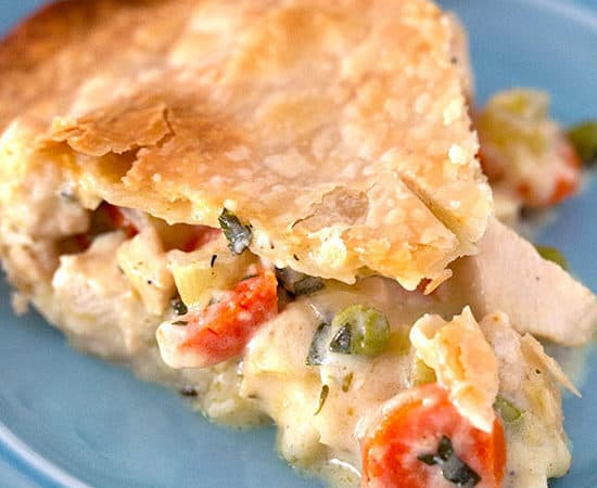 Slice of the best homemade chicken pot pie