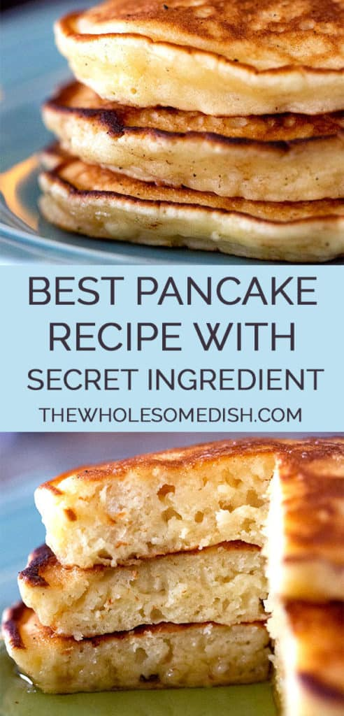2 image collage with text showing The Best Pancake recipe