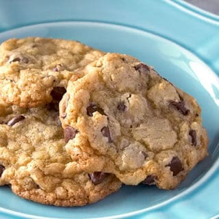 3 of the best homemade chocolate chip cookies on a plate