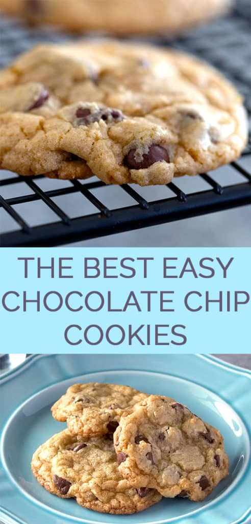 The best easy chocolate chip cookies recipe on a cooling rack and on a plate pinterest collage
