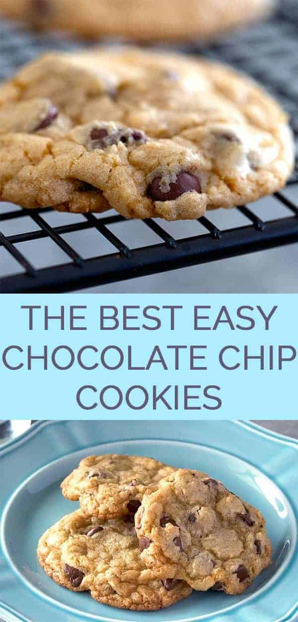 The Best Easy Chocolate Chip Cookies Recipe - An easy chocolate chip cookie recipe made in minutes. These are the best homemade chocolate chip cookies ever! #bestchocolatechipcookies #chocolatechipcookiesrecipe #thewholesomedish