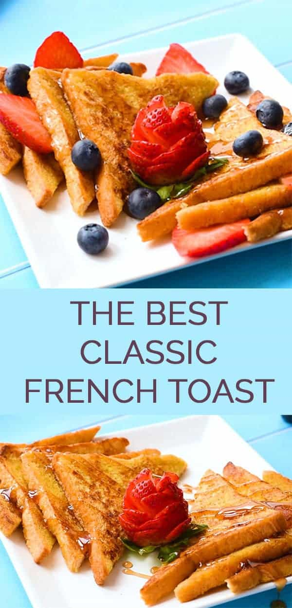 The Best Classic French Toast - This easy French toast recipe makes homemade fluffy french toast using a cinnamon batter and any type of bread you want. #frenchtoast #bestfrenchtoast #easyfrenchtoast #breakfastrecipe #brunch #easybreakfast #thewholesomedish