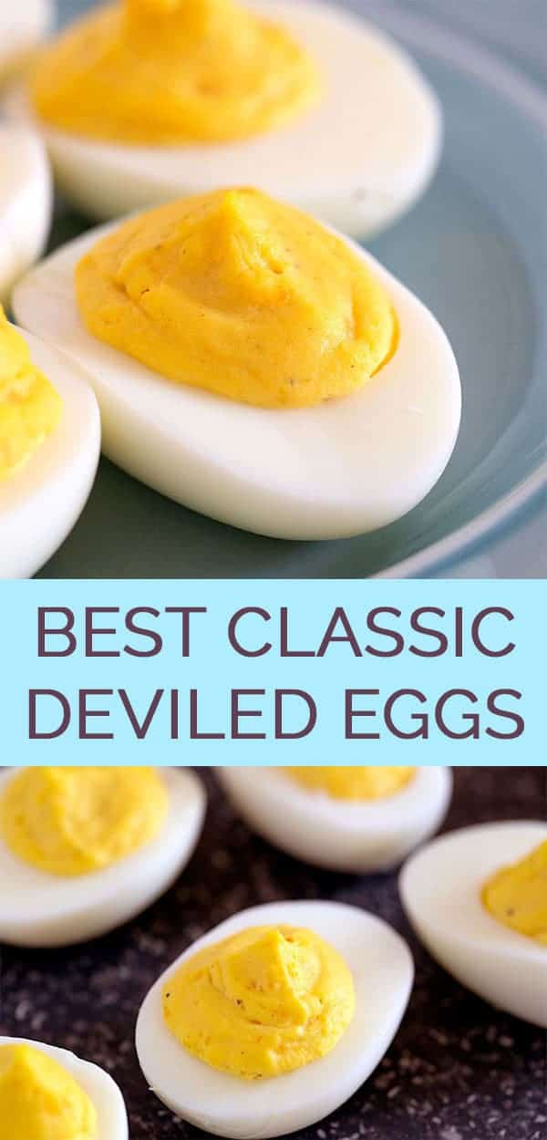 The Best Classic Deviled Eggs Recipe - This easy deviled egg recipe only calls for 5 ingredients and makes the best deviled eggs ever! #deviledeggs #deviledeggrecipe #eggrecipes #bestdeviledeggs #thewholesomedish