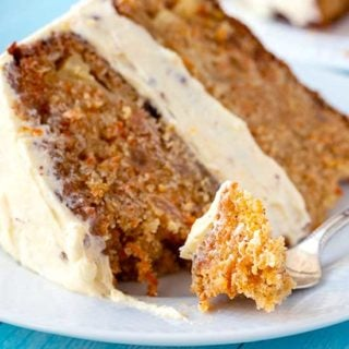 Slice of the best carrot cake on a plate