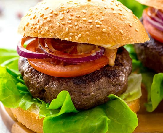 The best classic burger recipe on a bun with traditional hamburger toppings