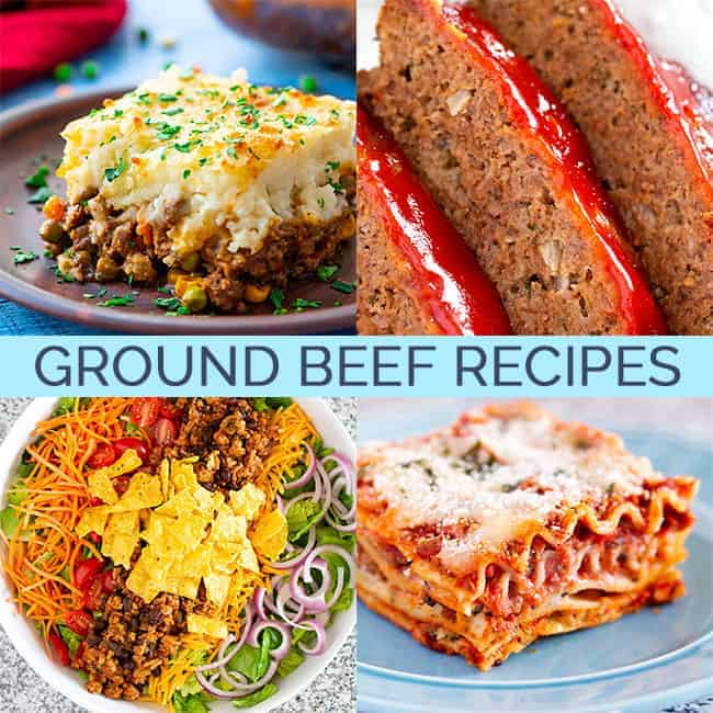 Four images of recipes using ground beef: shepherd's pie, meatloaf, lasagna, and taco salad