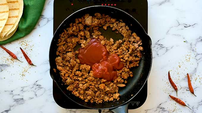 homemade taco seasoned beef in a skillet