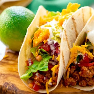 homemade tacos with classic taco toppings