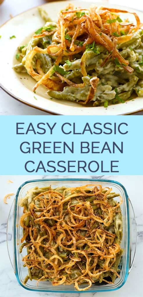 Traditional green bean casserole 2 image pinterest collage