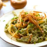 Classic green bean casserole on a plate