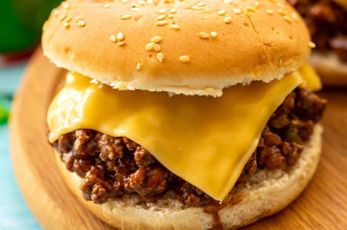 Sloppy Joe sandwich on a cutting board
