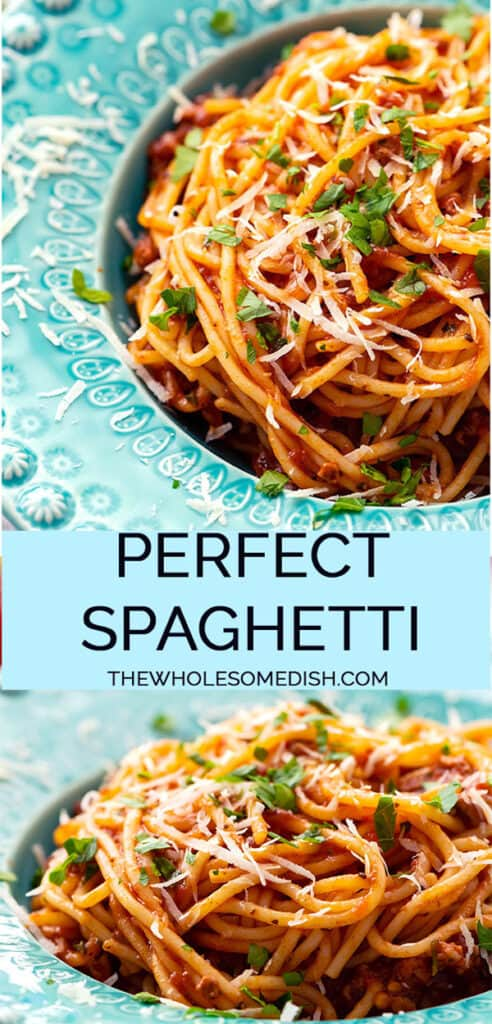 2 image collage with text overlay of spaghetti