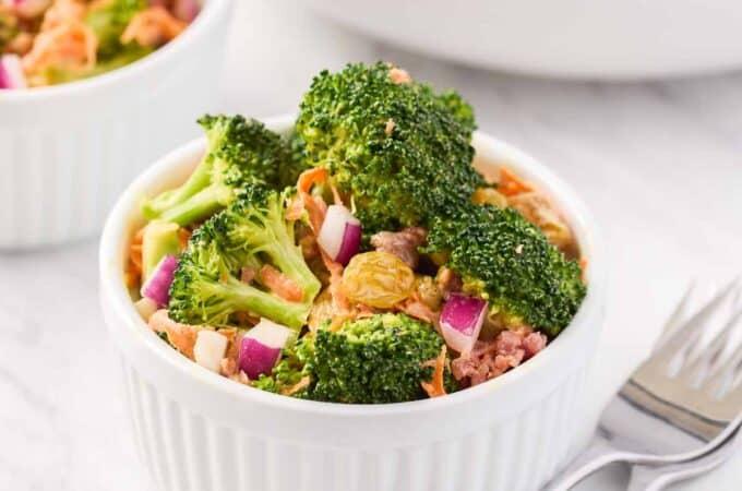 broccoli salad in a white ramekin